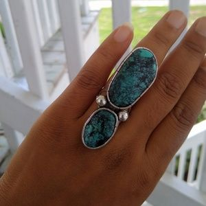 HUGE sterling southwestern Turquoise long ring